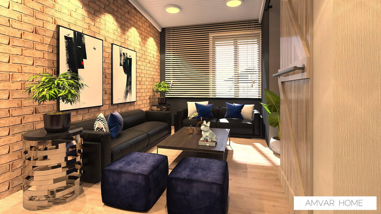 Sala tipo industrial con mucha personalidad by Amvar Home Industrial