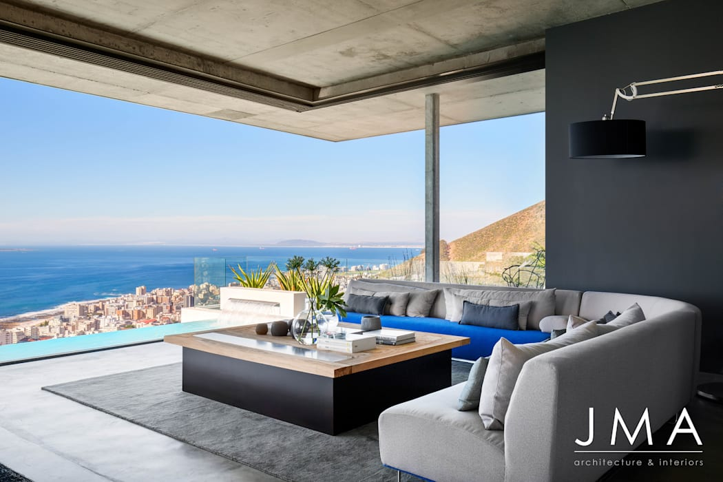 Pool Penthouse - Living Area Modern living room by Jenny Mills Architects Modern