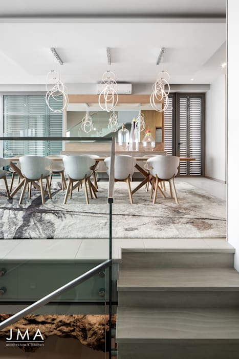 Connected Atlantic Living - Dining Modern dining room by Jenny Mills Architects Modern