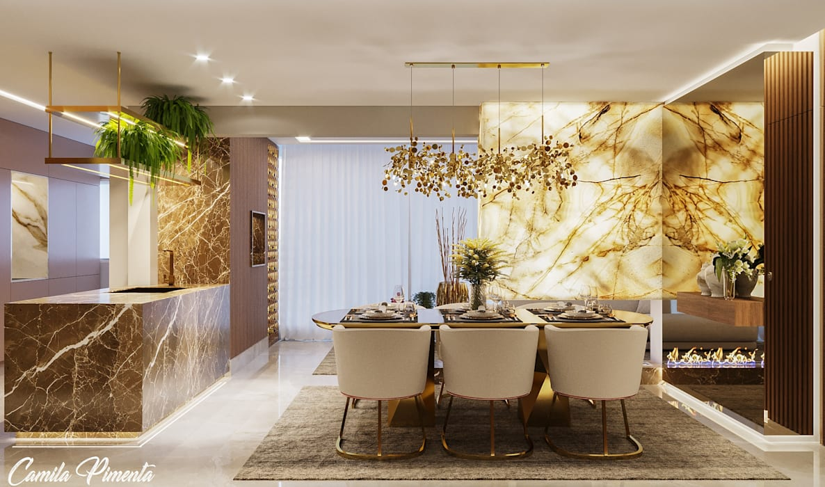 Modern dining room by Camila Pimenta | Arquitetura + Interiores Modern Marble