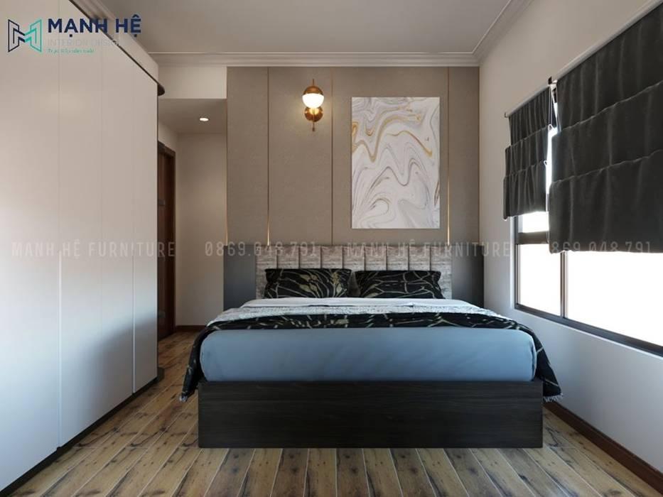Sử dụng tranh treo đầu giường nghệ thuật để trang trí phòng ngủ sang trọng Phòng ngủ phong cách Địa Trung Hải bởi Công ty TNHH Nội Thất Mạnh Hệ Địa Trung Hải