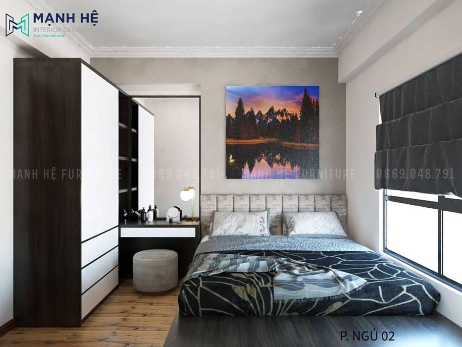 Giường ngủ dạng bục đặt cạnh cửa sổ có view yên tĩnh bởi Công ty TNHH Nội Thất Mạnh Hệ Hiện đại