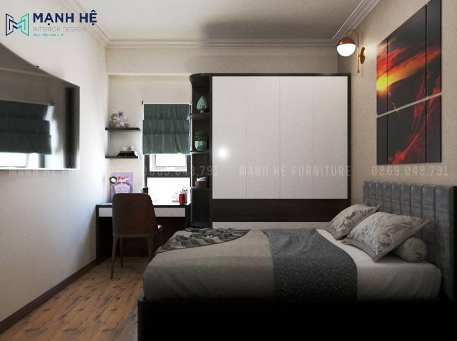 Bàn làm việc đặt cạnh cửa sổ, sử dụng tối đa ánh sáng tự nhiên Công ty TNHH Nội Thất Mạnh Hệ Phòng ngủ nhỏ
