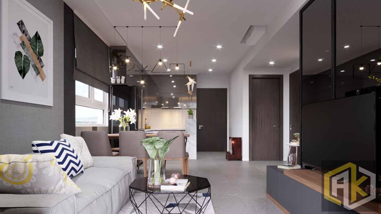 Thiết kế nội thất căn hộ chung cư 72m2 Botanica - Chị Trâm | An Khoa Design bởi Công ty TNHH Tư vấn thiết kế xây dựng An Khoa Hiện đại