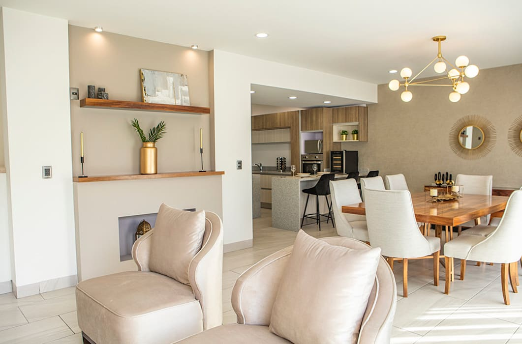 Decoración casa piloto tonos neutros loop-d Comedores de estilo moderno