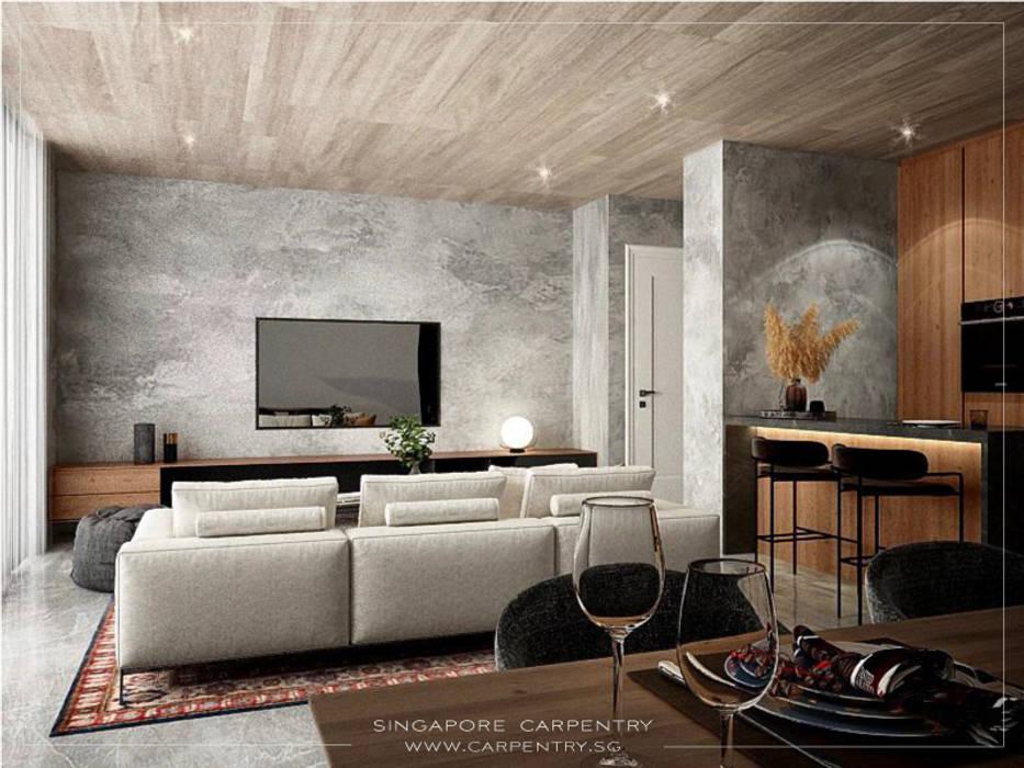 Swanky Luxury @ Keppel Bay Condominium Singapore Carpentry Interior Design Pte Ltd Modern living room Wood Grey