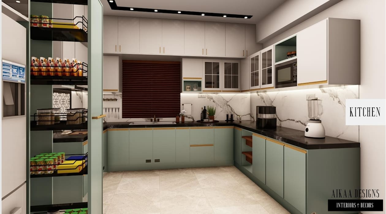 Luxury 3 BHK at Adyar, Chennai Aikaa Designs Modern kitchen