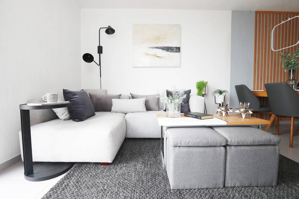 Salón pequeño en tonos grises loop-d Salones de estilo moderno Gris
