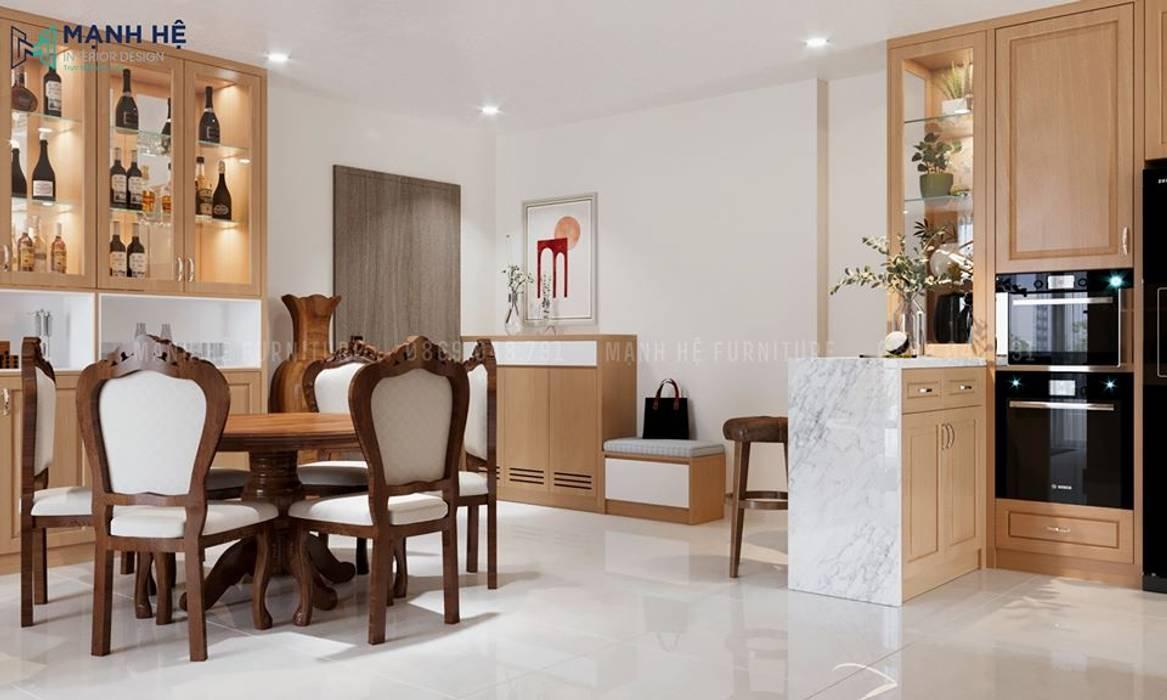Kệ tủ rượu trang trí bằng gỗ Sồi, nâng tầm giá trị của bộ sưu tập rượu Công ty TNHH Nội Thất Mạnh Hệ Phòng ăn phong cách hiện đại
