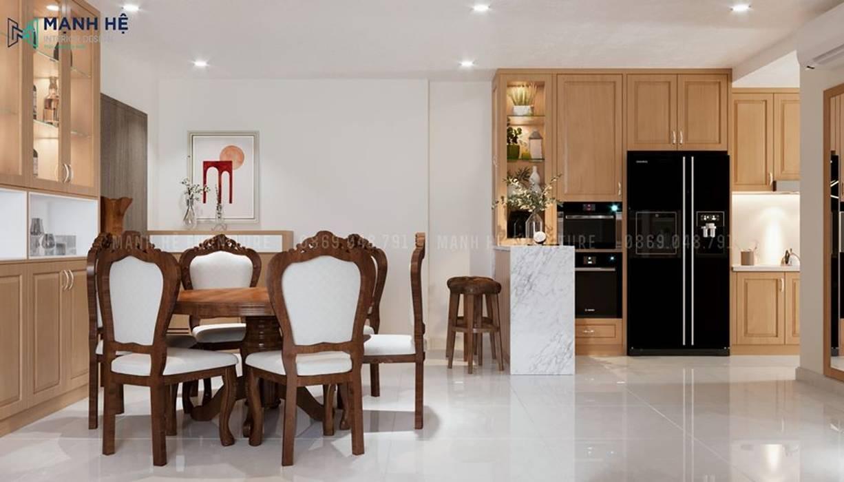 Tủ bếp có ô chứa tủ lạnh và lò nướng gọn gàng Phòng ăn phong cách hiện đại bởi Công ty TNHH Nội Thất Mạnh Hệ Hiện đại