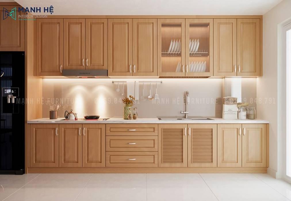 Hệ tủ bếp bằng gỗ Sồi đỏ sang trọng, trang nhã tạo cảm hứng nhẹ nhàng cho các mẹ nội trợ bởi Công ty TNHH Nội Thất Mạnh Hệ Hiện đại