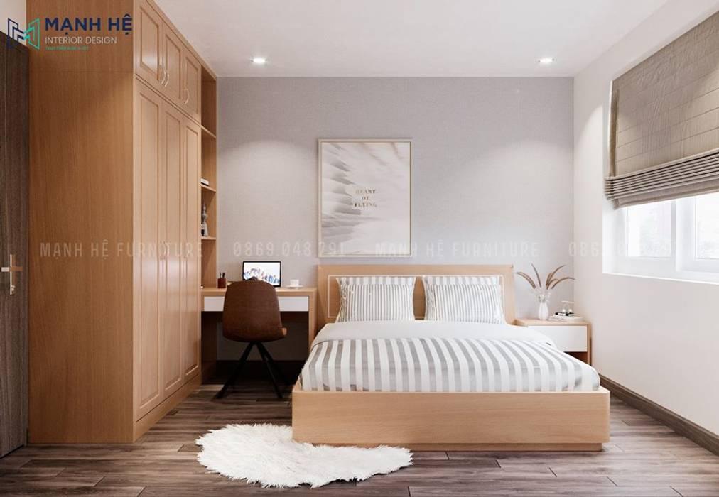Tiết chế họa tiết cho phòng ngủ gỗ Sồi tự nhiên mộc mạc Công ty TNHH Nội Thất Mạnh Hệ Phòng ngủ nhỏ