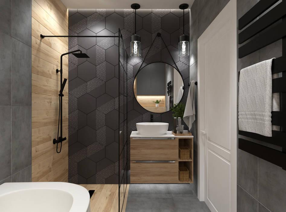 Aranżacja łazienki o efekcie drewna Nowoczesna łazienka od Senkoart Design Nowoczesny