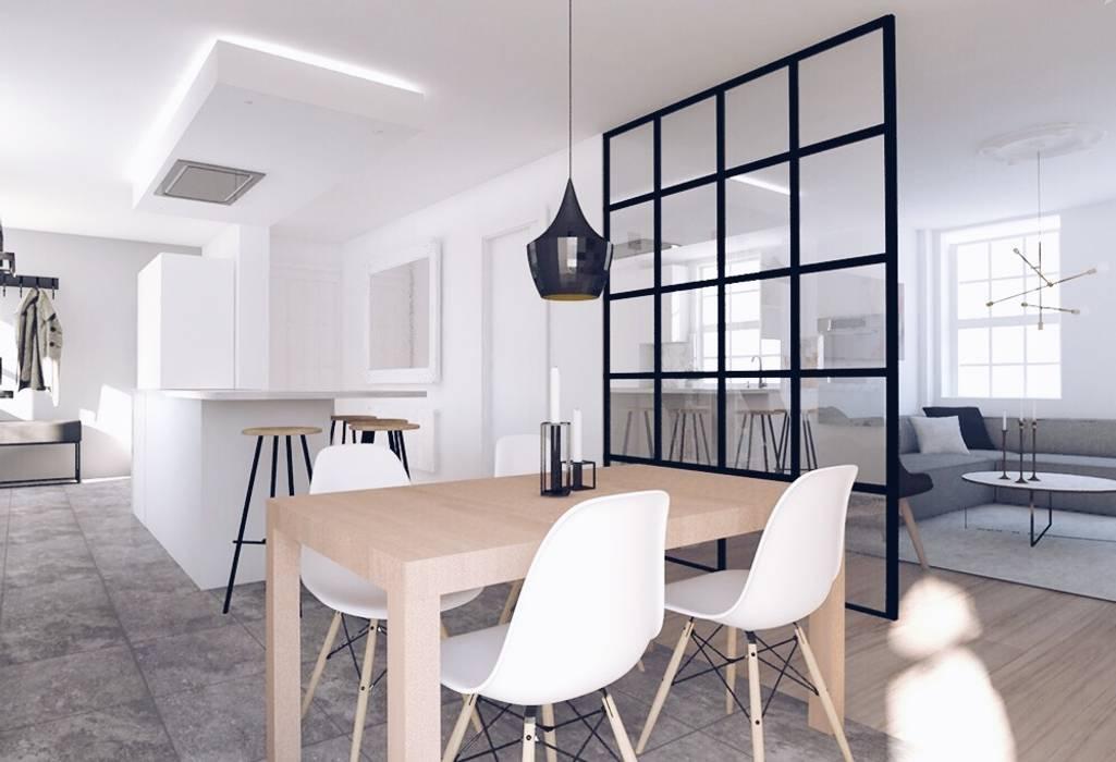 Open Plan Design Flat in North London Scandinavian style dining room by The White Interior Design Studio Scandinavian
