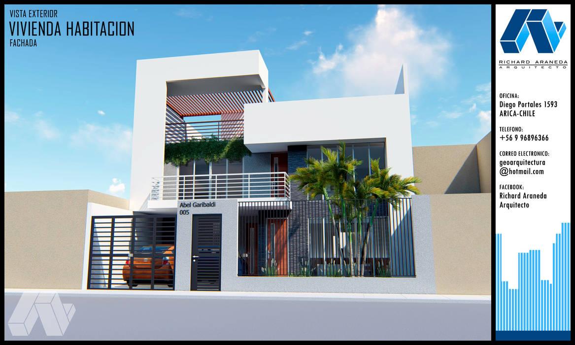 FACHADA CASA FAMILIAR Casas estilo moderno: ideas, arquitectura e imágenes de RICHARD ARANEDA VARGAS Moderno