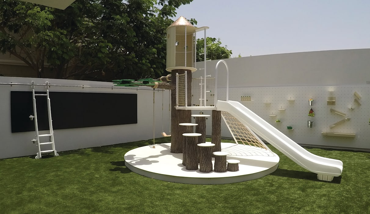 Contemporary Outdoor Playground Adaptiv DC Nursery/kid's room میٹل White