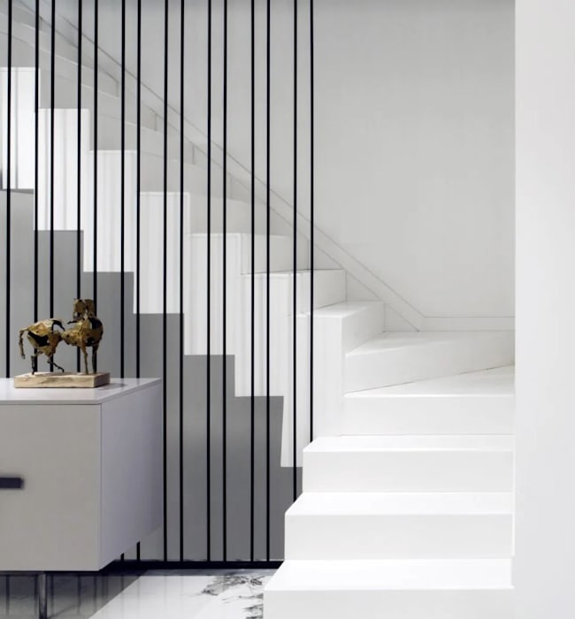 Black White Modern Staircase Eclectic style corridor, hallway & stairs by C&M Media Eclectic Copper/Bronze/Brass