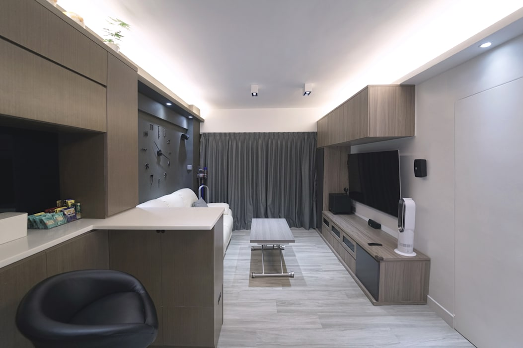 大廳(裝修後)新做櫃,燈,牆,傢俱,地板,油漆 Know Design Modern living room Wood Brown