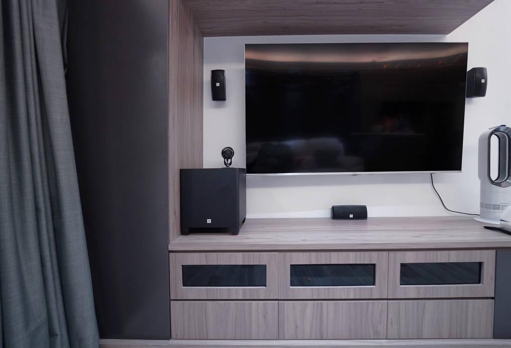 大廳(裝修後)新做櫃,燈,牆,傢俱,地板,油漆 Modern living room by Know Design Modern Plywood