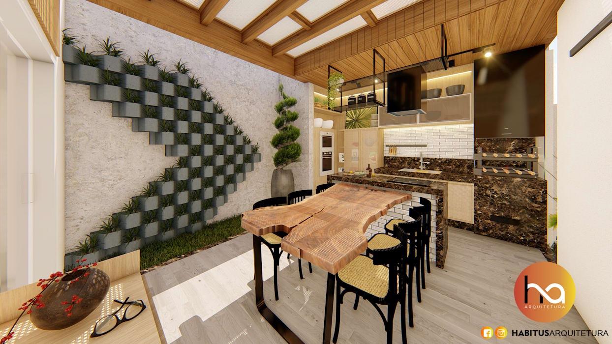 Habitus Arquitetura Modern balcony, veranda & terrace Solid Wood Wood effect