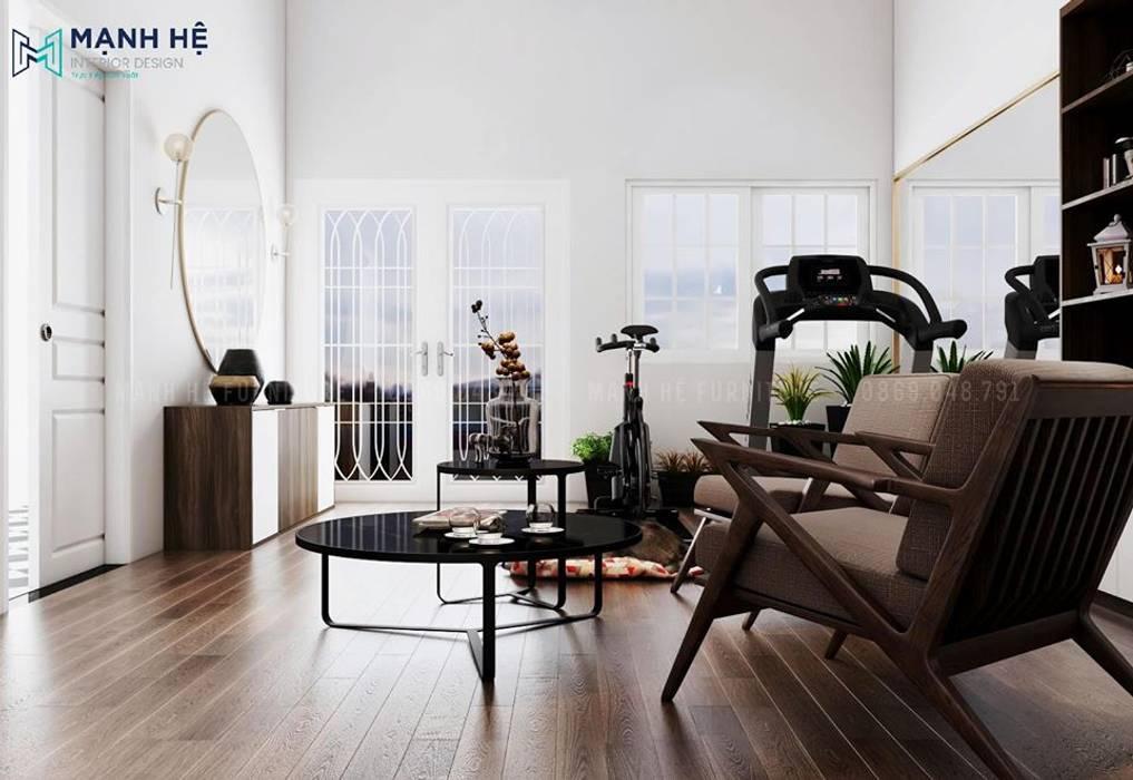 Bộ bàn trà mặt kính cường lực màu đen hiện đại, trẻ trung bởi Công ty TNHH Nội Thất Mạnh Hệ Hiện đại