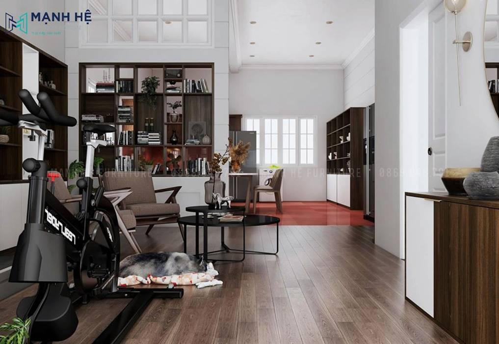 Cách phân chia phòng khách liền bếp cho nhà chung cư nhỏ khéo léo bởi Công ty TNHH Nội Thất Mạnh Hệ Hiện đại