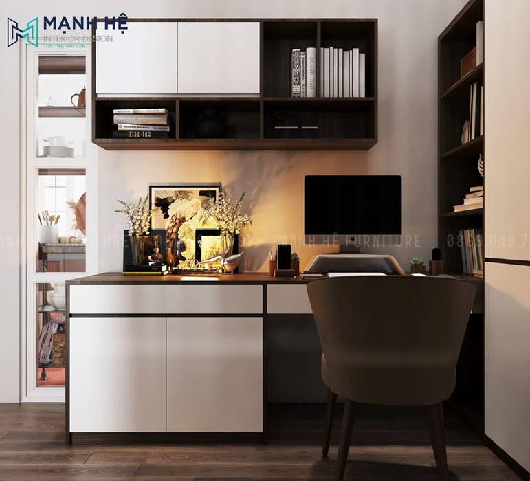 Bàn làm việc có hộc tủ kéo và tủ đứng cánh mở, thuận tiện để tài liệu với nhiều kích thước khác nhau bởi Công ty TNHH Nội Thất Mạnh Hệ Hiện đại