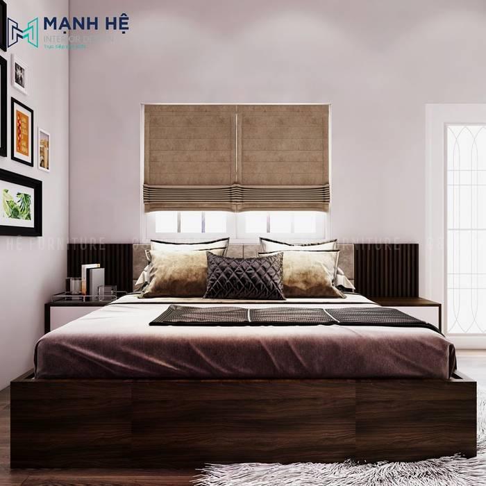 Giường ngủ gỗ công nghiệp phòng ngủ master sang trọng bởi Công ty TNHH Nội Thất Mạnh Hệ Hiện đại