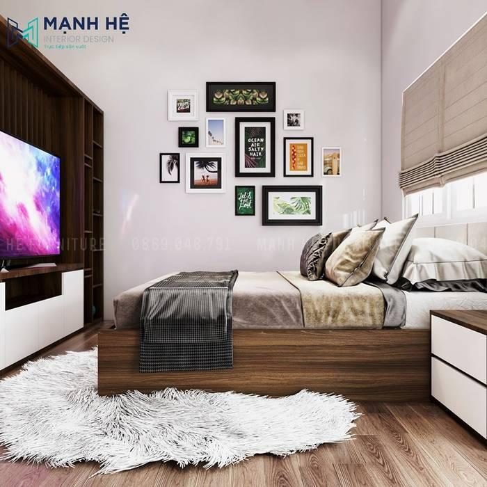 Thảm lông trải sàn trang trí phòng ngủ sang trọng Phòng ngủ phong cách hiện đại bởi Công ty TNHH Nội Thất Mạnh Hệ Hiện đại