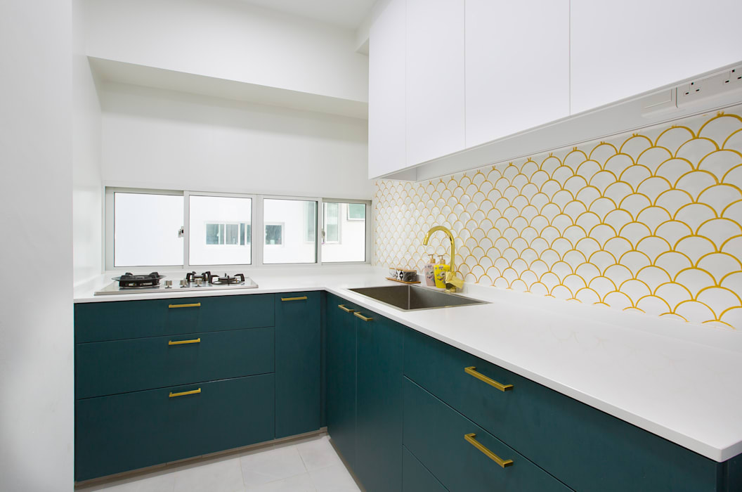 Meter Square Pte Ltd Dapur Modern Ubin White