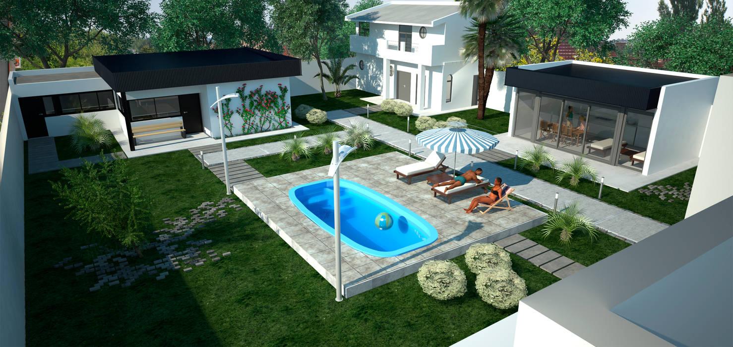 Viviendas Tapalqué - Render Patio Interno D4-Arquitectos Casas multifamiliares Hierro/Acero Blanco