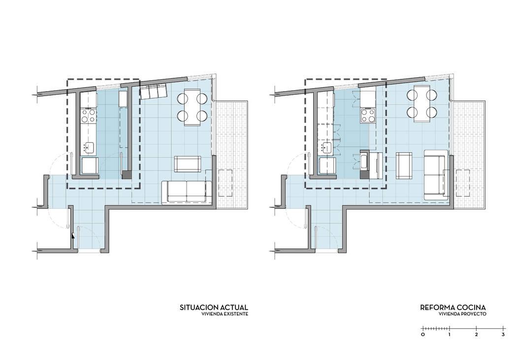 Departamento Bustamante - Planta Antes y Después D4-Arquitectos Casas unifamiliares