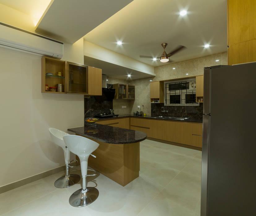 Modular wood finish kitchen design Offcentered Architects Modern Kitchen