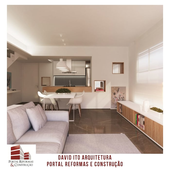 PROJETO DA SALA DE ESTAR/JANTAR por Portal Reformas & Construção Minimalista