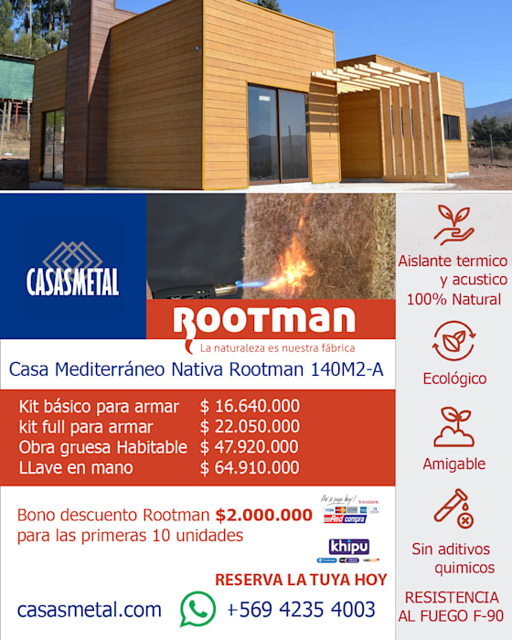 Mediterráneo Nativa Rootman 140m2 de Casas Metal Mediterráneo