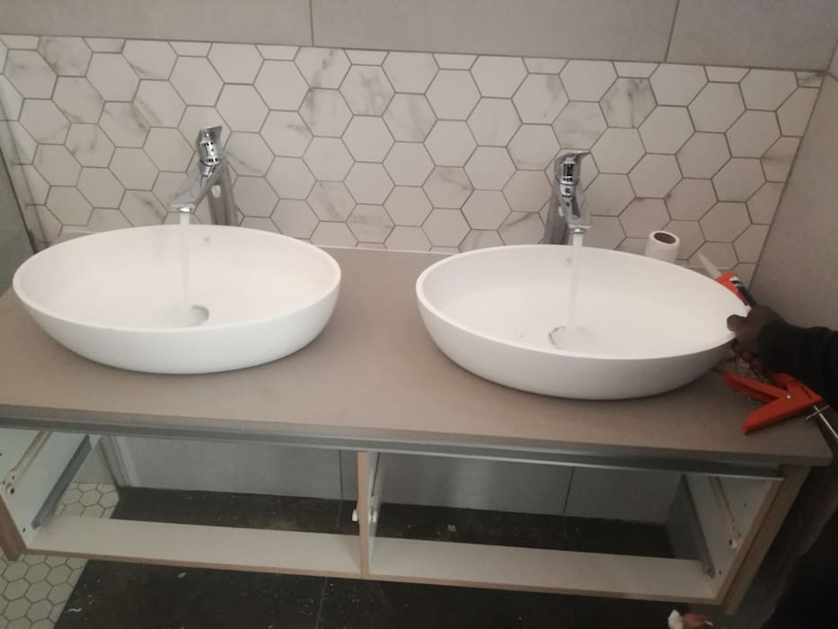 Double Handbasins Afrisom Projects Pty Ltd Modern style bathrooms