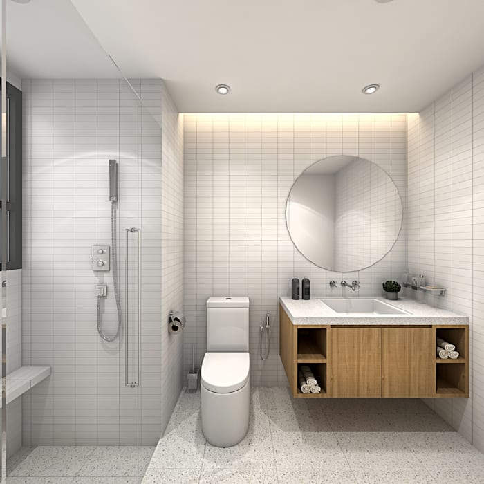 FIVE STONES CONDOMINIUM Scandinavian style bathrooms by Simsan Design Scandinavian