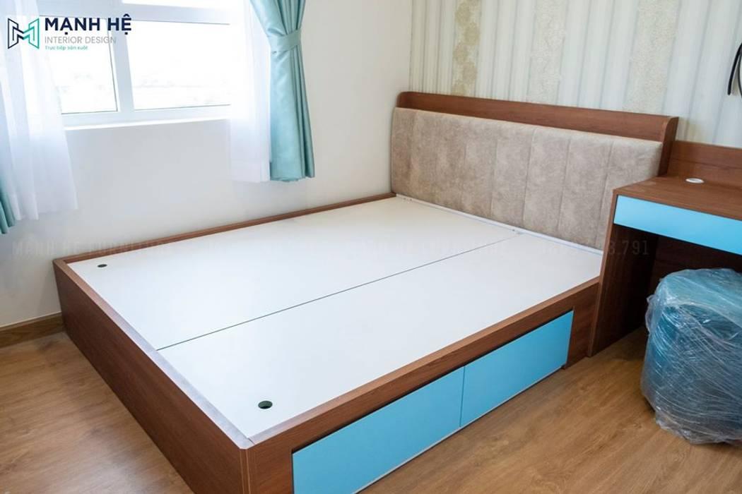 Hoàn thiện giường ngủ có hộc kéo tăng diện tích chứa đồ bởi Công ty TNHH Nội Thất Mạnh Hệ Hiện đại