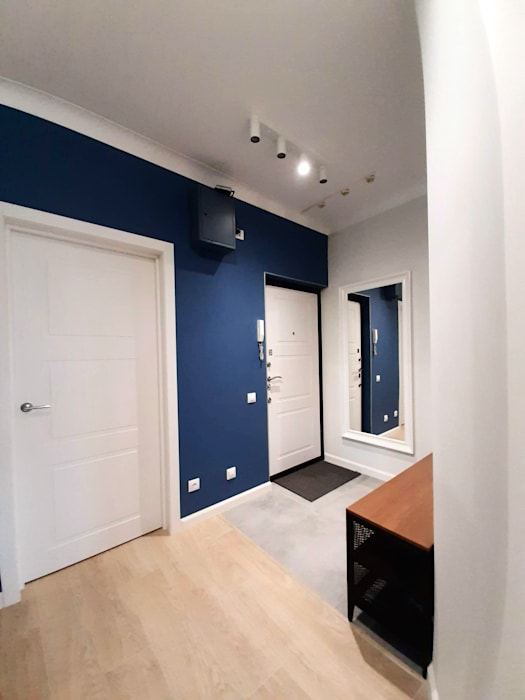 modern appartment with classic details ANDO Scandinavian style corridor, hallway& stairs