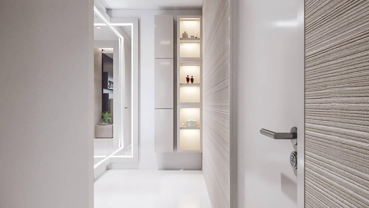 De Panache Pasillos, vestíbulos y escaleras de estilo moderno Mármol Beige