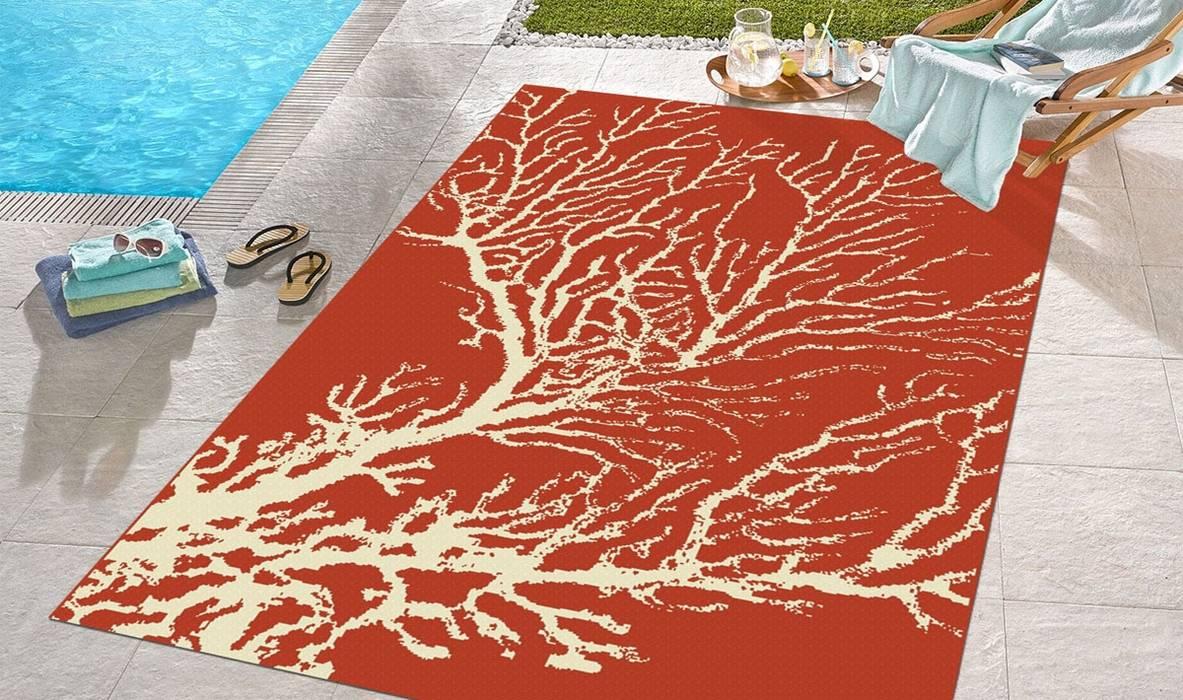 Tappeto outdoor Coastal Coral Red di Webtappeti Eclettico Tessuti Ambra/Oro
