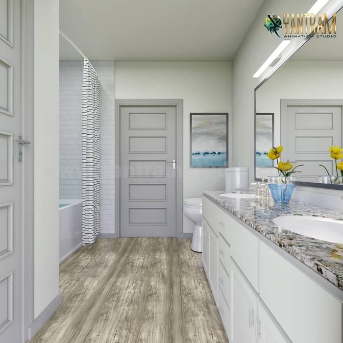 Stunning Master Bathroom 3D Interior Designers rendering by Architectural Design Studio Modern Bathroom by Yantram Architectural Design Studio Corporation Modern