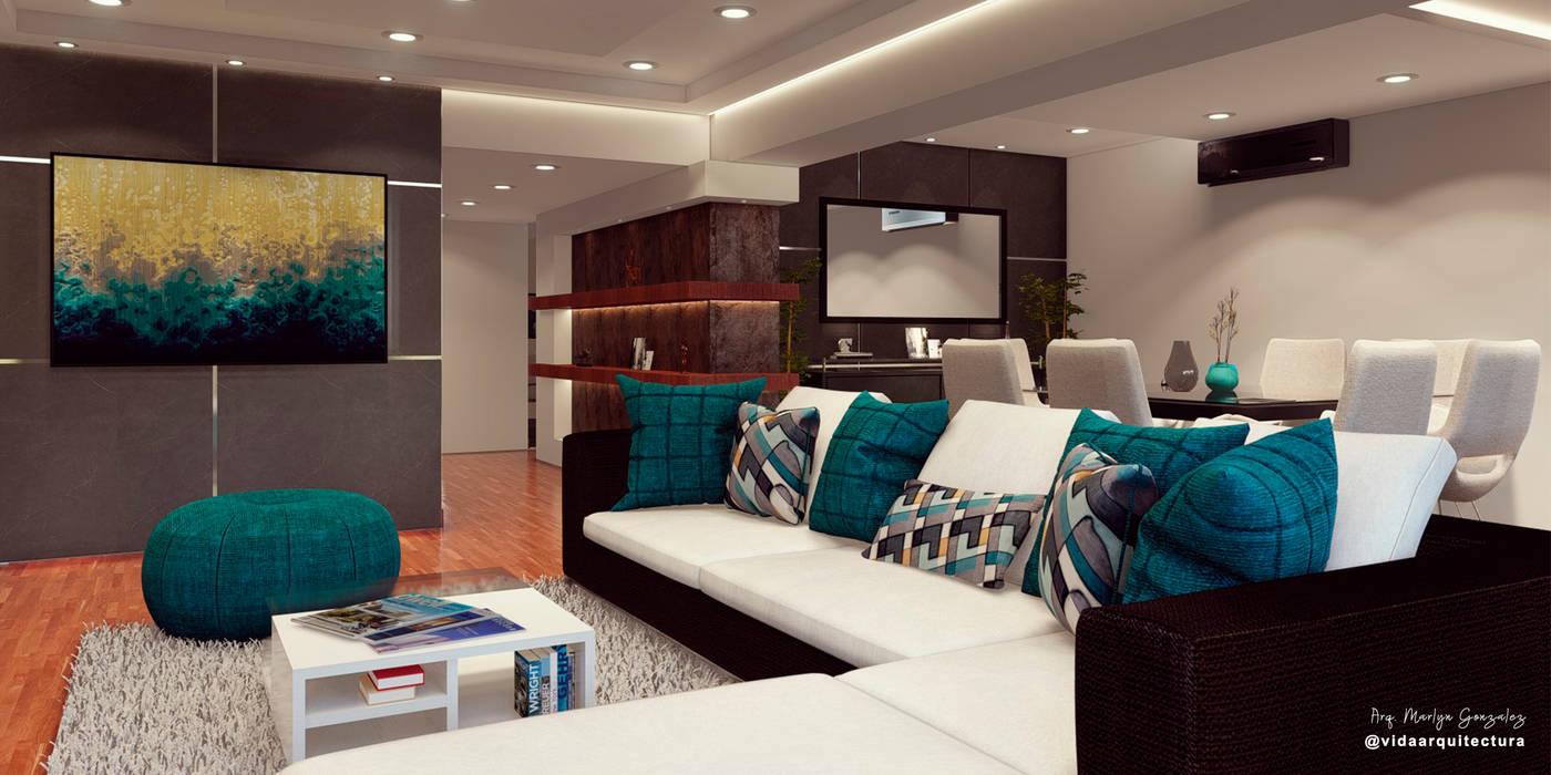 Diseño de sala de estar / living room Vida Arquitectura Salas de estilo moderno Madera Gris