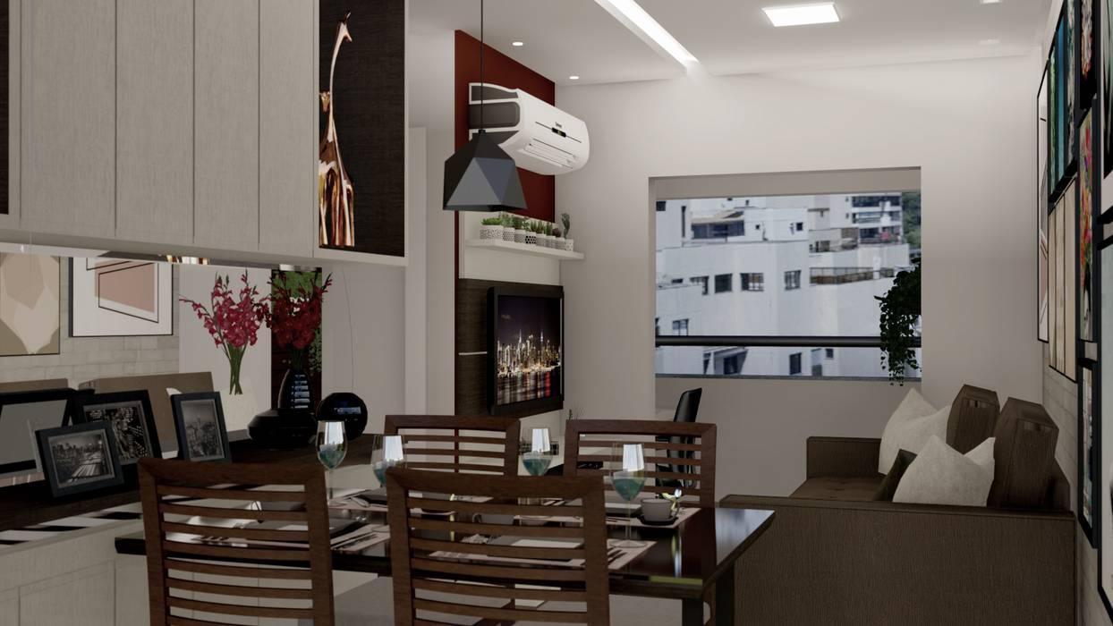 RESIDÊNCIA RSS - Sala de Estar/Jantar Salas de jantar modernas por MILWARD ARQUITETURA Moderno