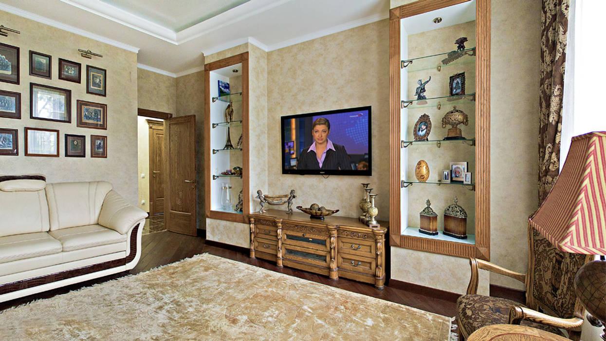 Трёхкомнатная в сталинке Гостиная в стиле модерн от rom-design.ru Модерн Дерево Эффект древесины