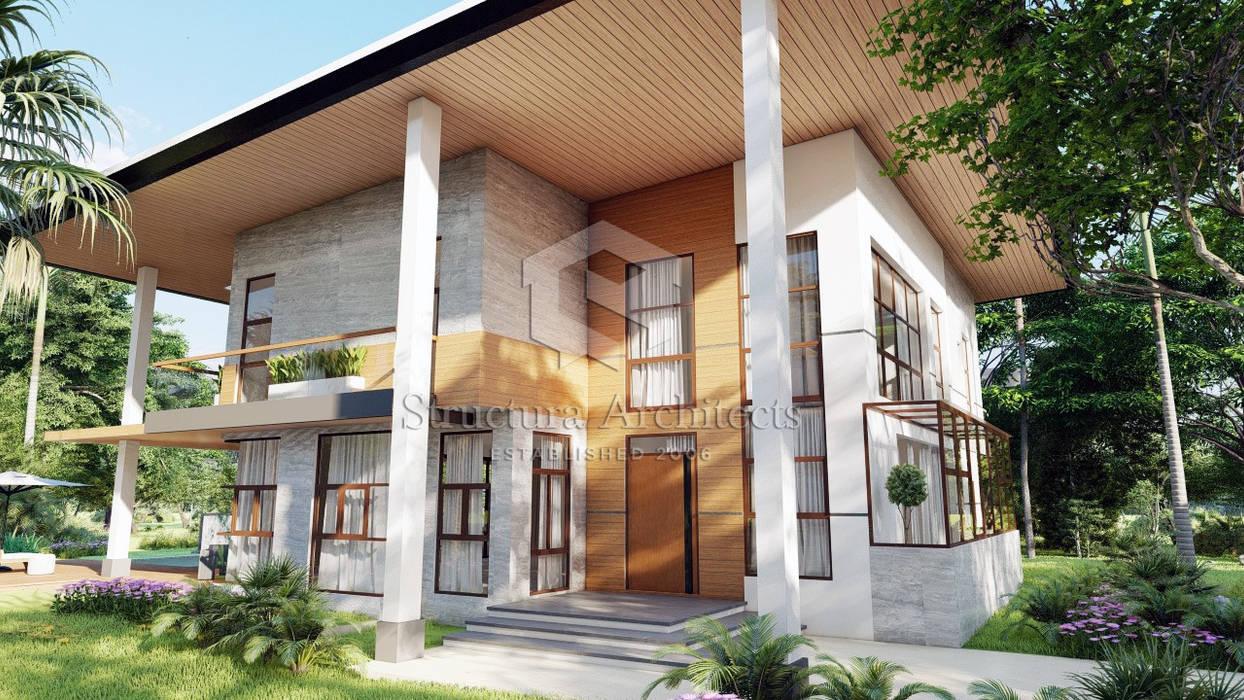 Facade - View of Main Door Structura Architects Villas Marble Grey