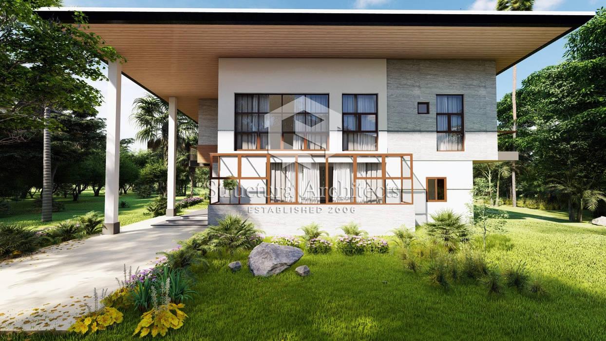 Sunroom, Modern Home, Tropical Home, tall windows Structura Architects Villas Quartz White