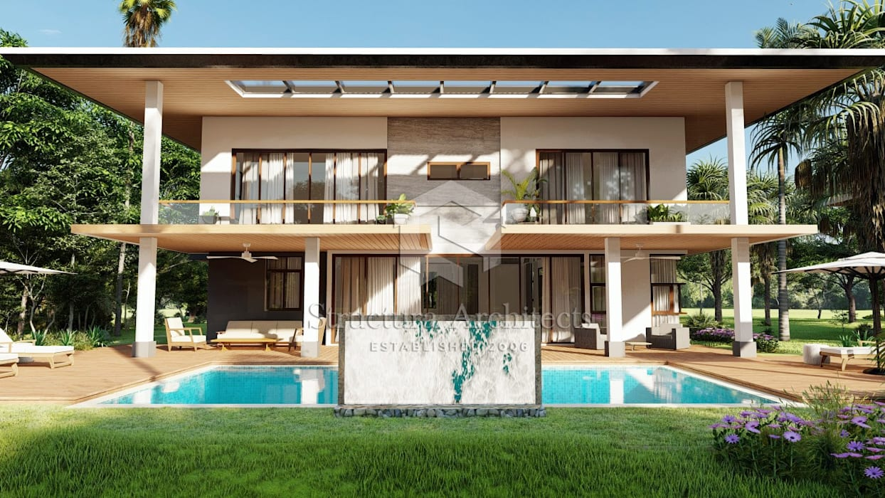View of Swimming Pool Structura Architects Villas Wood Brown