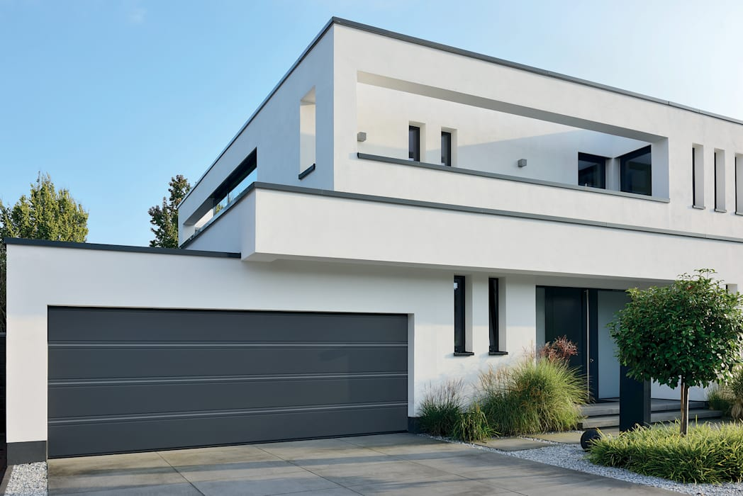 Hormann L-ribbed double sectional garage door in anthracite grey Modern style doors by Access Garage Doors Ltd Modern