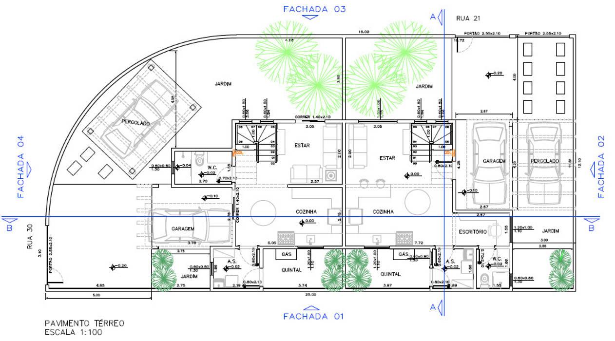 Projeto Arquitetônico - Pavimento Térreo por Parro Engenharia e Projetos Moderno